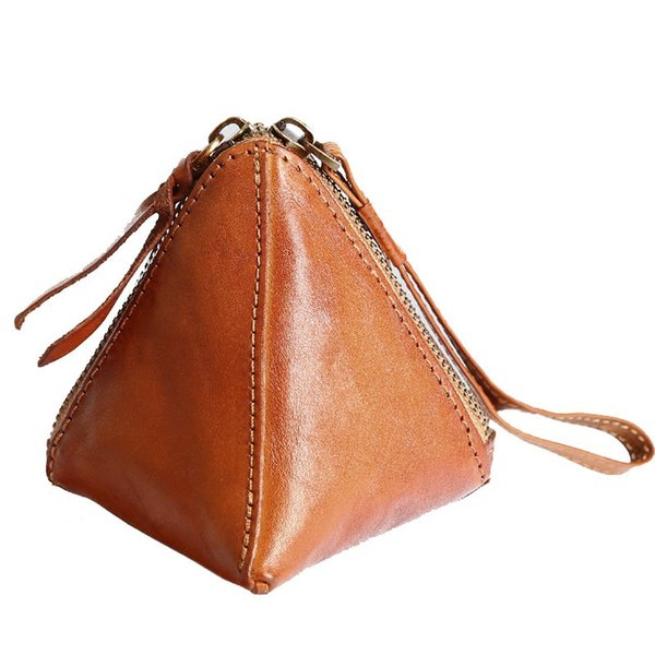 2018 Novo Triângulo Real Couro Genuíno Coin Bolsas Titulares Mulheres Bolsa Carteira Pequena Handmade Mini Cute Wristlet Handbag Bolso