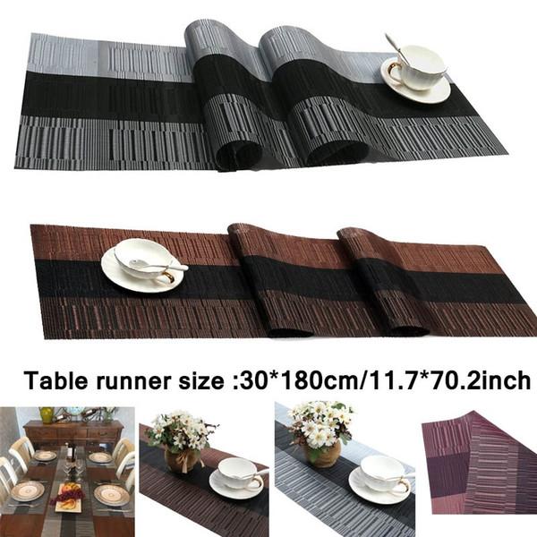 Kompatible Tischsets Tischläufer, 1 Stück Crossweave Woven Vinyl Tischläufer Waschbar 30x180cm / 12x70.86inch