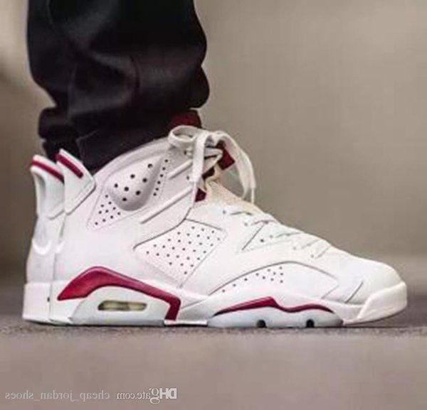 6 Newest Maroon Men Basketball Shoes White Red 6s Trainers Mens Sports Sneakers Outdoor Athletics Shoes Size 41-47