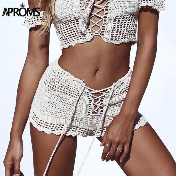 Aproms Summer Lace Up Mid Elastic Waist Shorts Boho 2019 White Knitted Crochet Shorts 90s Girls Slim Shorts Female Bottoms Y19050905