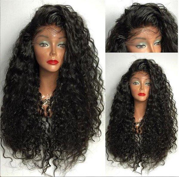 100% Virgen pelucas de cabello humano con pelo de bebé Onda natural Brasileño Peluca delantera del cordón Pelucas llenas del cordón para las mujeres negras con rayita natural