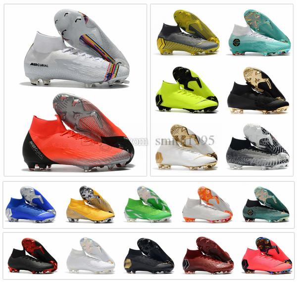 Nike Mercurial Superfly VI 360 Elite FG KJ 6 XII 12 CR7 Ronaldo Neymar Mens donna Ragazzi scarpe da calcio alte scarpe da calcio tacchetti taglia US 3-11