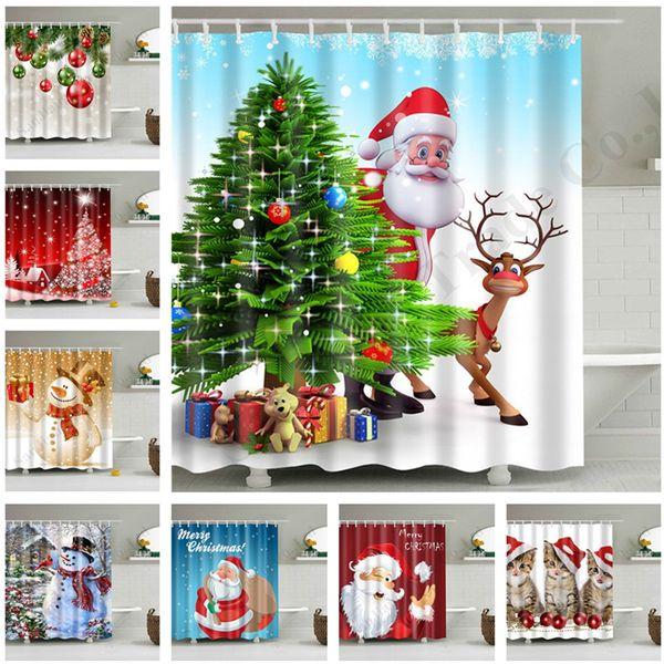 180x180CM Waterproof Bathroom Fabric Shower Curtain Christmas Snowman Santa USA