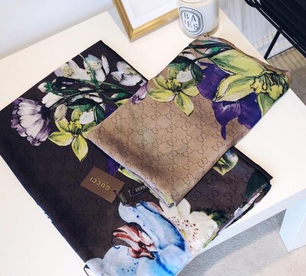 Spring New Women's Designer Scarf Printed Silk Shawl Light And Soft Breathable Italian Brand Design Silk Scarf 180x90cm