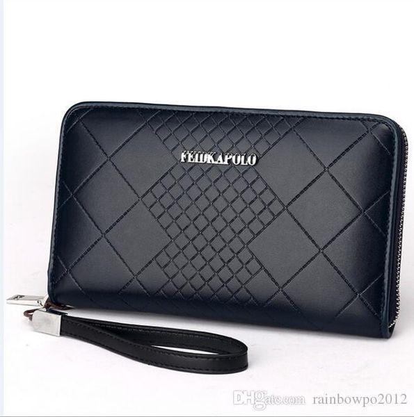 Homem marca pacote de negócios em relevo carteira high-grade em relevo ling xadrez man longo carteira de couro moda cartão de visita pacote