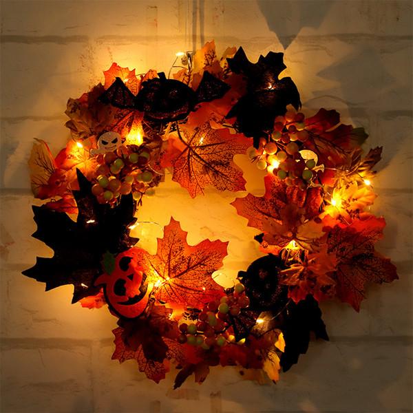 corona de simulación de Halloween, decorado con la hoja de arce ventana de luz, festival de fantasma anillo de ratán hoja de arce puerta bate colgante