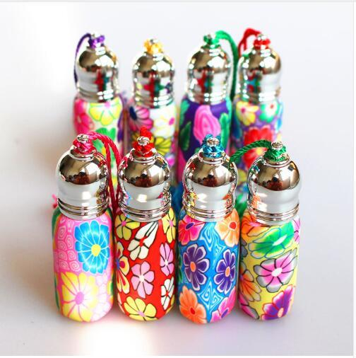 4pcs/Pack 6ml Glass Perfume Roll on Bottle with Glass Ball Polymer Clay Roller Essential Oil Bottle Many Patterns