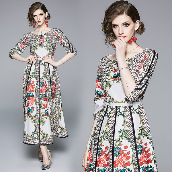 Maxi Dress Plus Size French Style Vintage Floral Print Big Swing Women Party Evening Dinner Prom Cocktail Elegant Dresses 8056