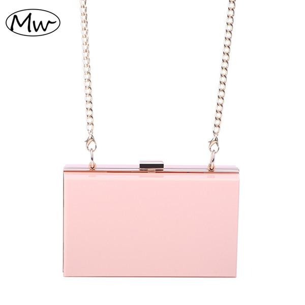 Neue 2019 Acryl Transparent Clutch Bag Kette Box Mini Frauen Messenger Party Day Clutch Geldbörse Brieftasche Vier Farben 265 # 505838