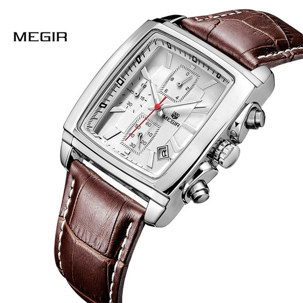 Megir banda superior de cuarzo reloj de los hombres relojes de cuero genuino hombres reloj cronógrafo reloj luminoso masculino relogio masculino 2028
