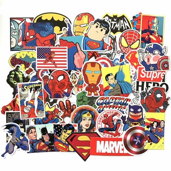 50 pcs / set Super Hero Autocollants De Voiture Pour Ordinateur Portable Notebook Sticker Réfrigérateur Réfrigérateur Cool De Voiture Extérieur Style HHA220