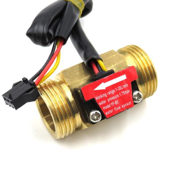 Hall Effect Water Flow Sensor Counter Indicator Flowmeter G3/4 DN20 Male Thread Brass 1-30L/min 50mm long