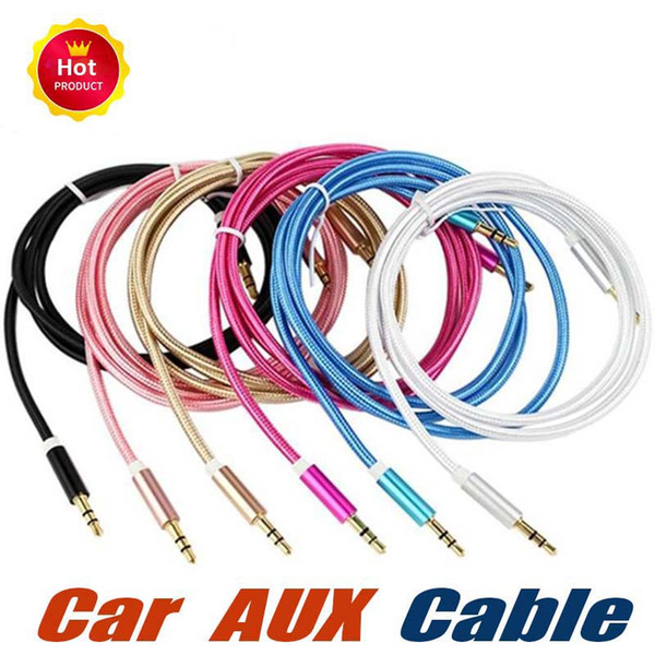 1M 3FT Braided AUX Audio Cable Woven Fabric 3.5mm Metal Head Cord Male To Male Stereo Extension Line For Car Phone Speaker