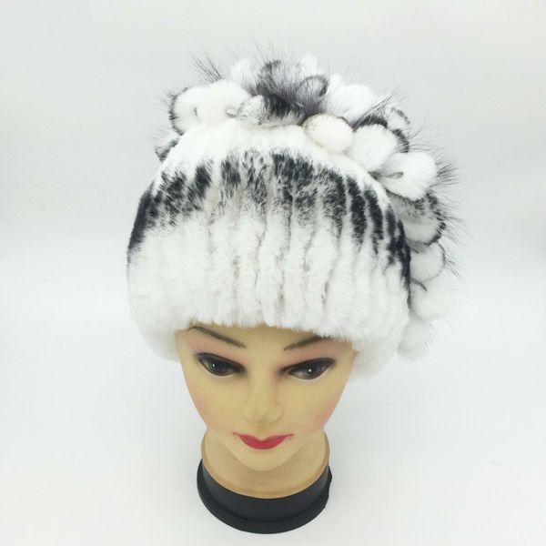 Women Rex Rabbit Hat Winter Sliver Fox Fur Flower Rabbit Fur Beanies Striped Head Warm Real Genuine Fur Knitted Caps