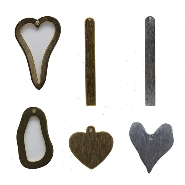 Aluminum Heart Rectangle Pendants Connectors with Holes Oxided Gold Silver Black DIY Accessories Jewelry Findings & Components Wholesale