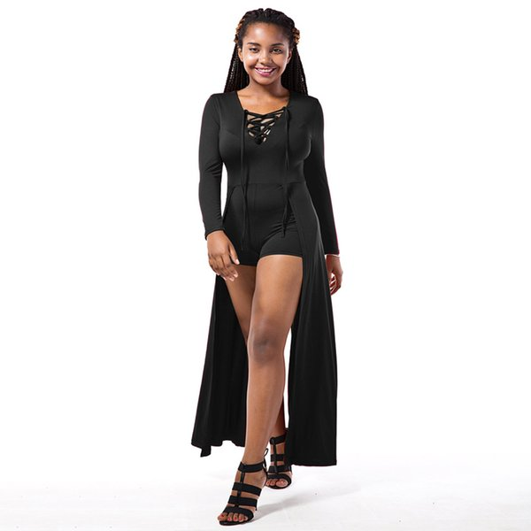Autumn Rompers Women Lace-up Jumpsuit Long Sleeves Deep V Neck Skirt Bodycon Bodysuit Shorts Overalls Playsuit Burgundy/Black