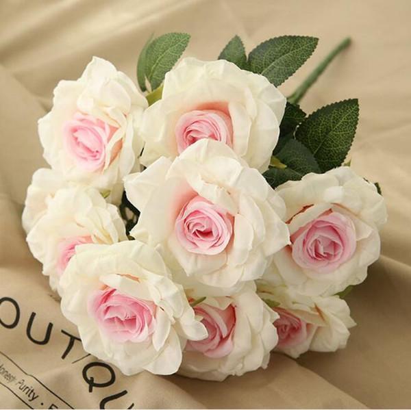 10 heads artificial hydrangea rose flowers bridal bouquet fake silk flower for home wedding party decorations DIY wedding flowers