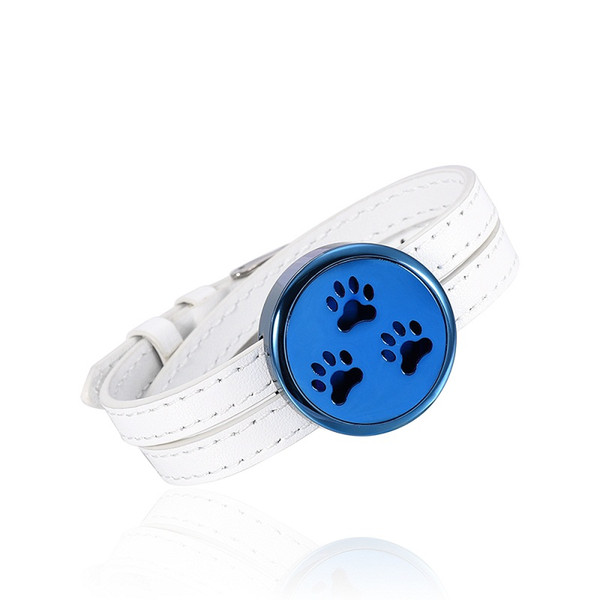 IJC003 Stainless Steel White Leather Strap Blue Dial Aromatherapy Bracelet Essential Oils Diffuser Perfume Free12 Pads Bracelet