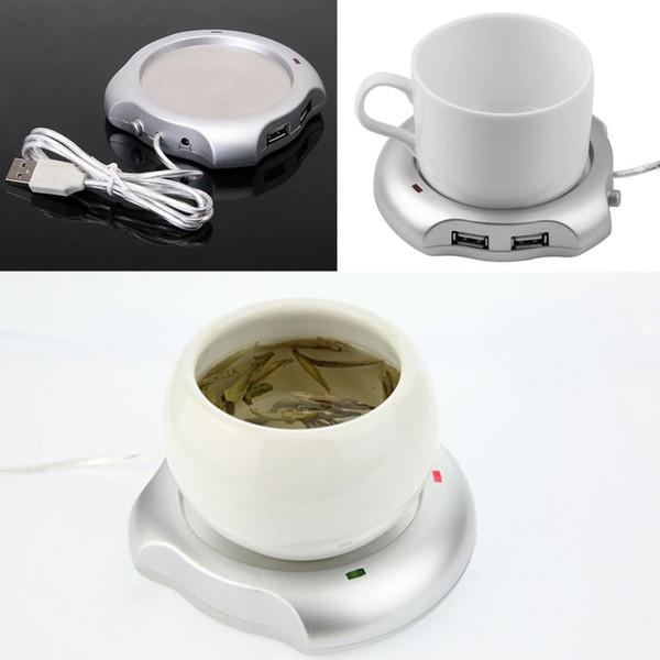 Portable USB électrique tasse de café tasse de boisson chauffant coussin chauffant tapis de chauffage avec hub 4 ports USB avec interrupteur marche / arrêt