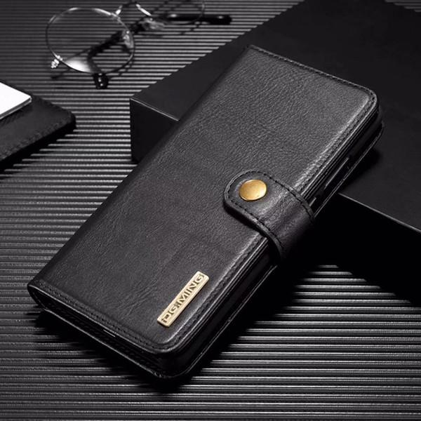 Folio Vegan Funda de cuero desmontable para billetera Shell Funda de piel de vaca Funda para teléfono para iPhone XS XR 7 Samsung S10 Note10 5G Huawei P30