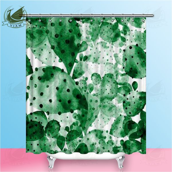 Vixm Green Succulent Watercolor Cactus Shower Curtains Fun Flowerpot Flower Waterproof Polyester Fabric Curtains For Home Decor