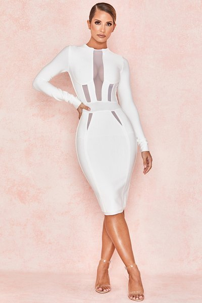 Cross-Border Special for Spring 2019 New Fast-Selling Long-sleeve Mesh Yarn Perspective Dress Bandage Skirt