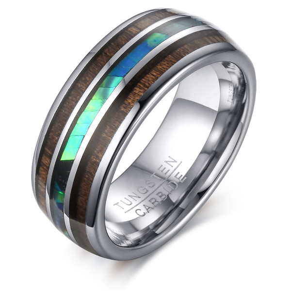 8mm Hawaiian Koa Wood and Abalone Shell Tungsten Carbide Rings Wedding Bands for Men Comfort Fit,Size 7-12