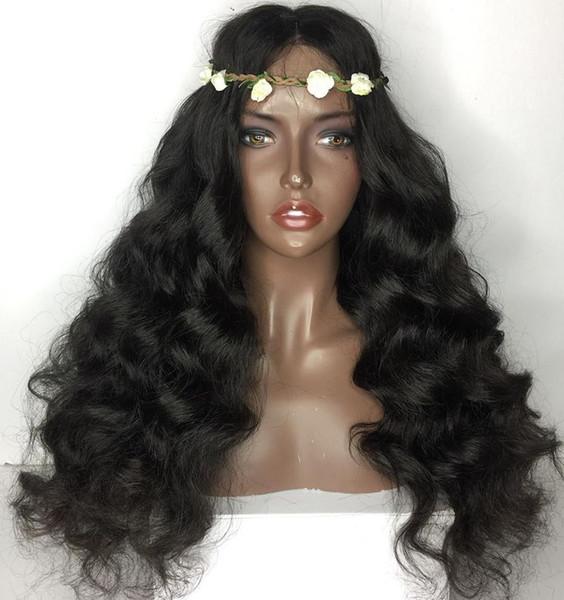Parrucche piene lunghe ondulate del pizzo dei capelli umani di densità di 150% per le donne nere Fronte brasiliano ondulato del pizzo dei capelli brasiliani con i capelli del bambino