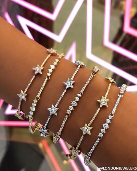 Nueva llegada delicada cadena de estrella pulseras del encanto pavimentadas diminutas chispas brillante piedra de Cz para las mujeres joyería simple regalos de boda del partido MX190719