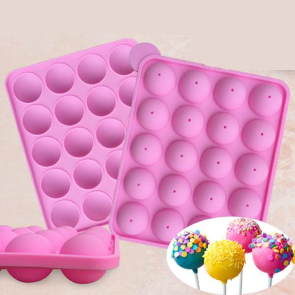 20 cavità stampo per dolci in silicone pop circle semicerchio caramelle dure lecca-lecca cupcake stampo per dolci cake pop stick stampo