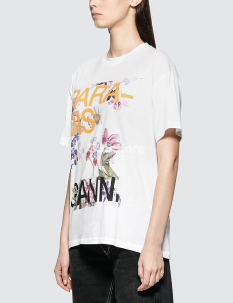 2019 Primavera Estate Northern Europe Floral Stampa maniche corte girocollo in cotone T-shirt donna T-shirt Moda A2714