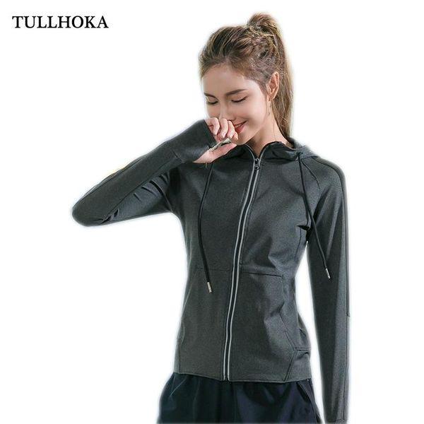 Tullhoka Mujeres Running capucha de la chaqueta de manga larga de las señoras de la yoga Outwear Deportes de la cremallera de la chaqueta de aptitud de la gimnasia Camisas