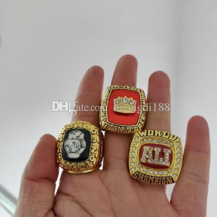 Hot Uphot real fine wholesale 1964 1974 1978 Muhammad Ali World Championship Ring Men rings Holiday gifts for friends 3piece/lot