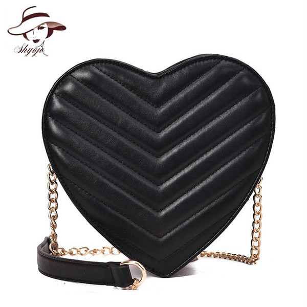 2019 Heart Shaped New Girls Bag Fashion High Quality PU Leather Women Designer Handbag Chain Shoulder Messenger Bag Party Purse