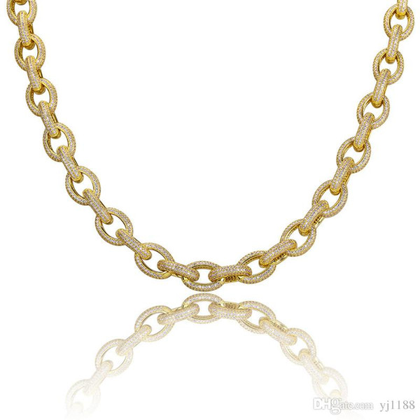 12mm Hiphop Diamond Link Chain Necklace Men 18K Gold Plated Iced Out Hip Hop Bracelet Jewelry Bling CZ Mens Chains Necklaces Set