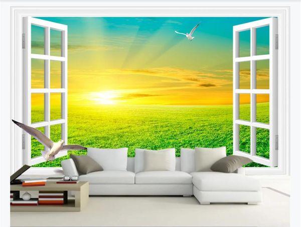 3D personalizado gran foto mural de papel tapiz Blanco ventana desierto amanecer hermoso paisaje 3D sala de estar TV fondo de pared