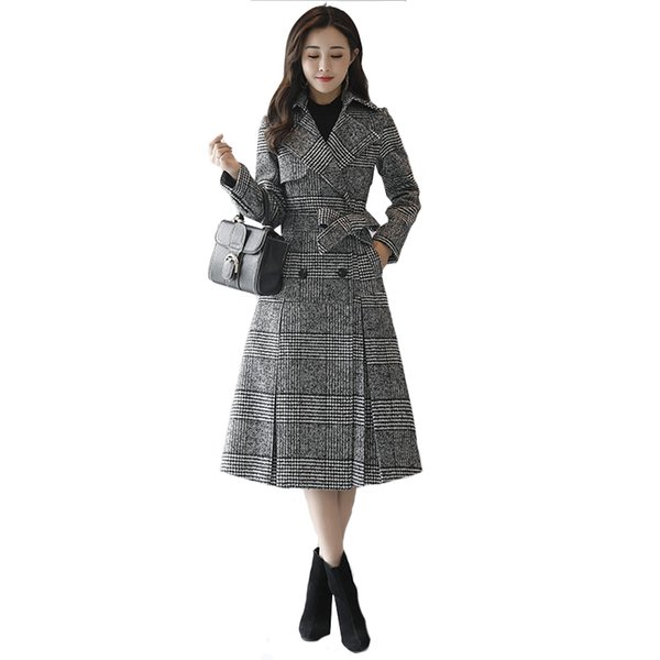 Tartan wool coat female long section Korean 2019 new autumn and winter models Slim waist check woolen coat Women's clothing