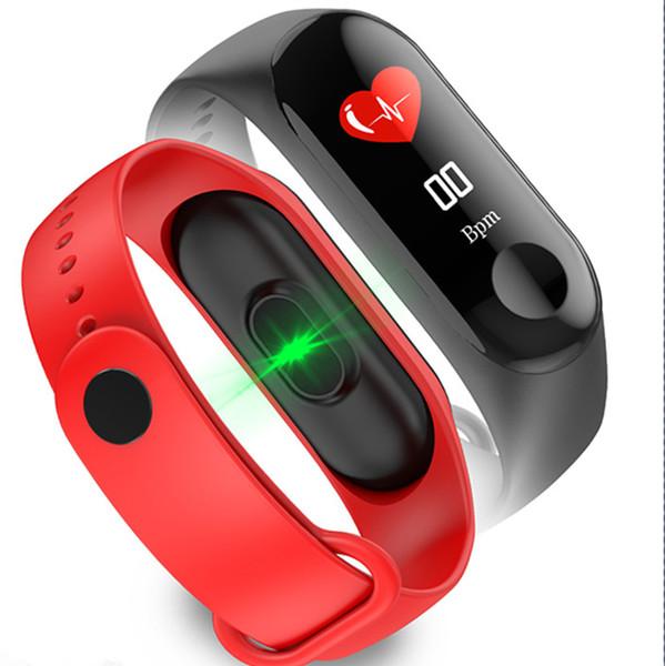 Pulsera inteligente M3 Fitness tracker Smartwatch Band Monitor de ritmo cardíaco Rastreador de actividad a prueba de agua Pulsera inteligente para IOS para teléfono Android