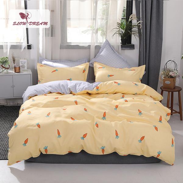 SlowDream Copripiumino copriletto giallo Set di lenzuola piatte di carota Set di biancheria da letto nordico Decor Camera da letto Matrimoniale Queen Biancheria da letto king size