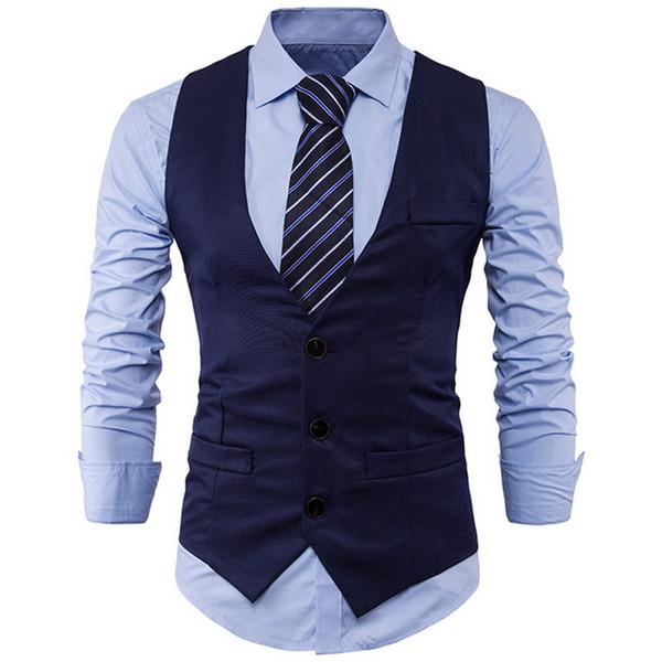 HEFLASHOR 2019 Stylish Men Spring Slim Fit High-End Business Suit Vest Male New Leisure V-neck Party Dress Vest Black Formal Top
