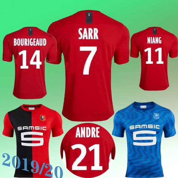 2019Stade Rennais Home away Fußball Jerseys 2019 2020 Rennes maillot de foot # 7 Sarr # 11 Niang # 14 Bourigeaud Andre Hunou Fußballhemd Sol
