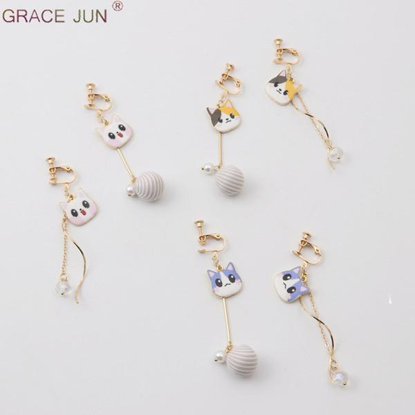 Pendientes de clip asimétrico de cristal perla personalidad coreana para la bola femenina borla colgante sin pendientes perforados