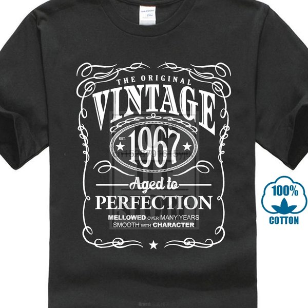 T Shirt Design Template Crew Neck Men Short Gift Vintage 1967 Aged To Perfection Shirts
