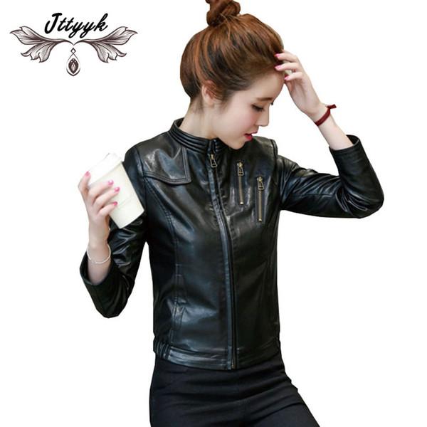 Spring Autumn PU Leather Jacket Women Coat 2019 Short Leather Jacket zipper High quality Black Bomber Motorcycle Jackets LJ144