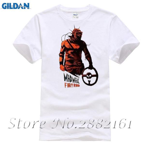 Mad Max Fury Yol Sanat Tasarlanmış Baskılı Film T Shirt Beyaz Erkek / Bayan Giyim