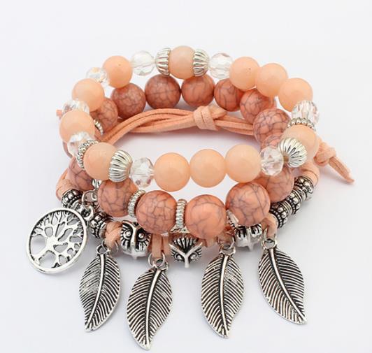 2019 Lady Bracelet Hot Style en Europa y las cuentas de vidrio multicapa turquesa hechas a mano cadena árbol de la vida