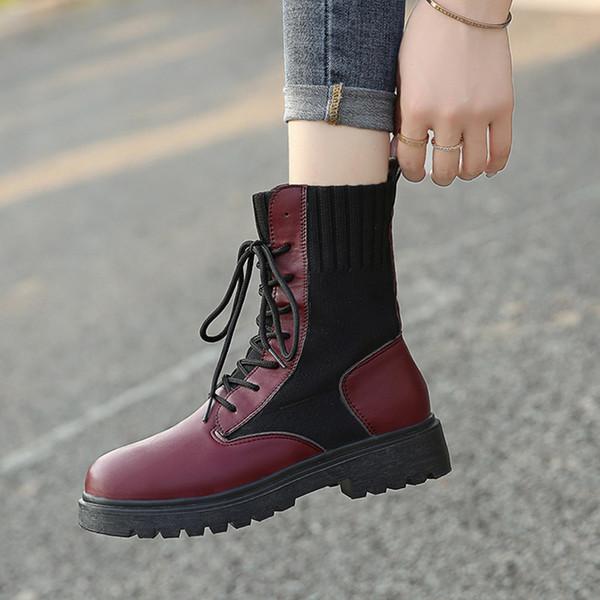 Low Heels Stiefeletten Schuhe Stiefelette Frau 2019-Sommer-Aufladungen Frauen Round Toe Booties Damen schnüren sich oben Luxuxentwerfer Rock-Strümpfe