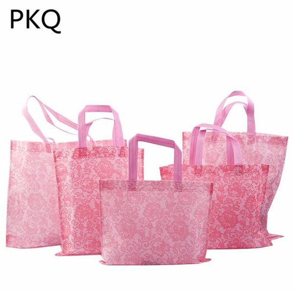 20pcs/lot High Quality Pink/White/Black Non-woven bags Large Gift Bags with Handles Foldable Reusable Shopping Packaging