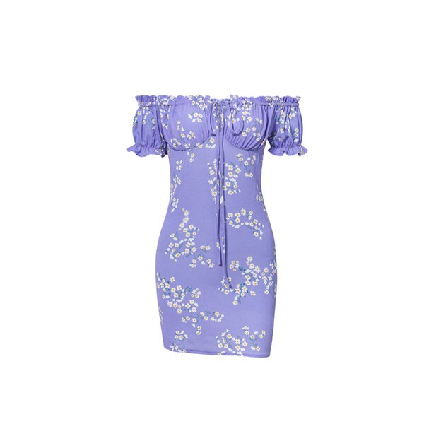 Summer dress 2019 fashion tight sexy dress printing women lace-up womens clothing off shoulder