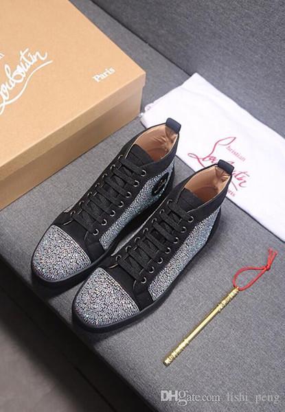 cristãoLouboutinCL2019 de alta moda sapatos casuais para homens e mulheres sapatos de desporto com os H39 sapatos vermelhos